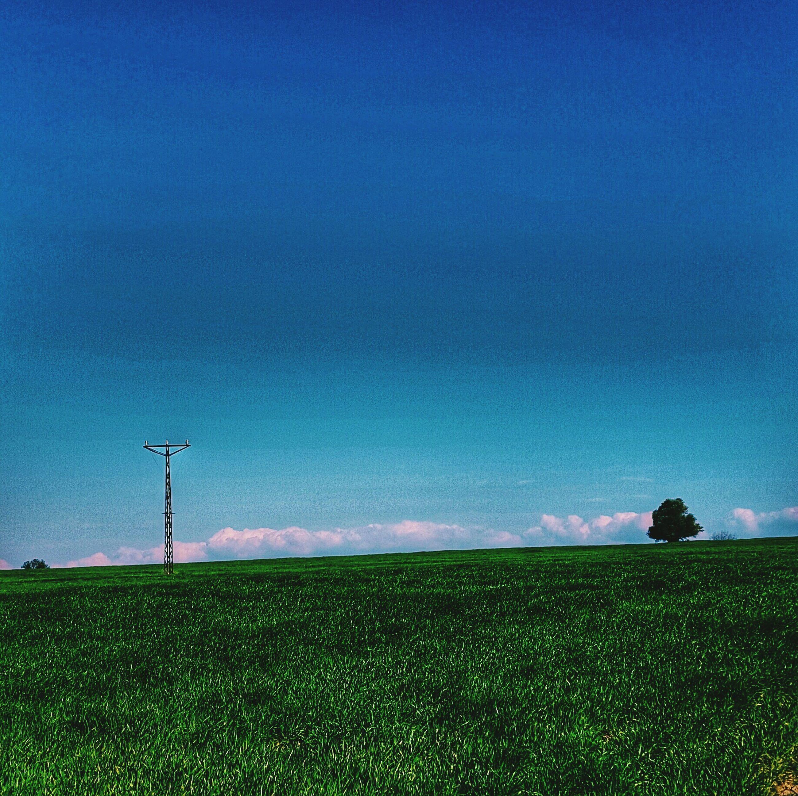 landscape, blue, field, tranquility, tranquil scene, grass, scenics, copy space, beauty in nature, sky, nature, clear sky, grassy, rural scene, wind power, remote, non-urban scene, green color, idyllic, wind turbine