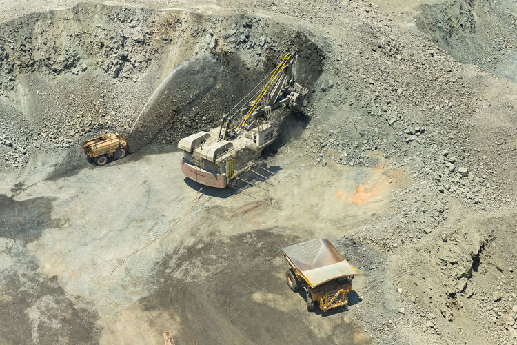 High angle view of construction site on beach