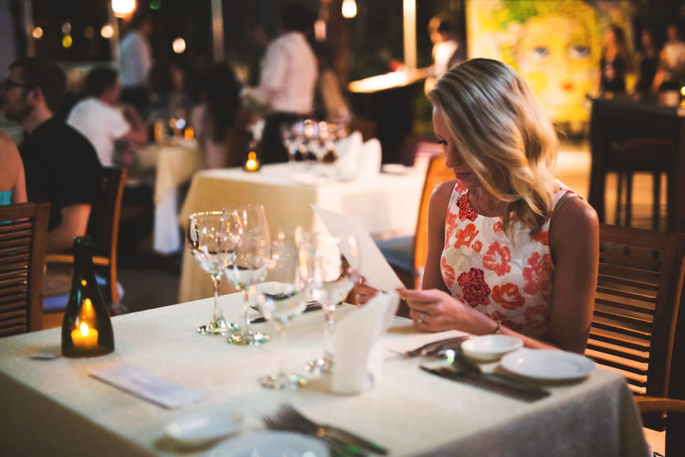 Date Menu Adult Day Food Food And Drink Indoors  One Person People Place Setting Real People Restaurant Table Wineglass Women
