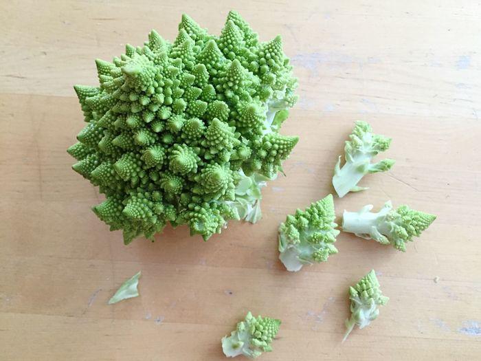 High angle view of romanesco broccoli on table