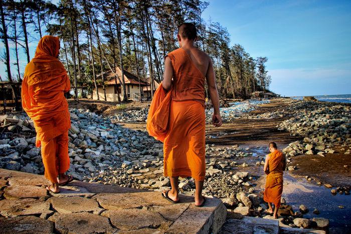 Beachphotography Buddist Monk Leisure Activity Monks Orange Color Vietnam Travel