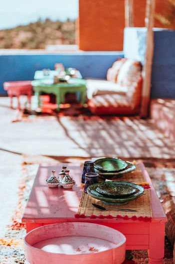 Moroccan food and dining Morocco Moroccan Moroccan Food Food And Drink Dining Dining Ware Table Chairs mealtime Bright Outdoors Colorful Cuisine