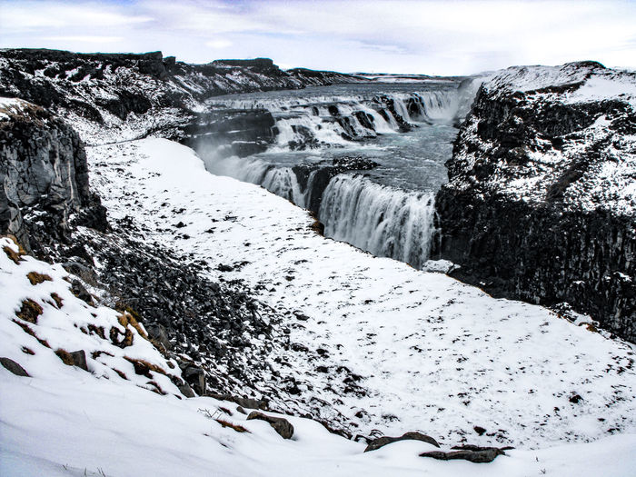 Gullfoss Falls Gullfoss Nature Beauty In Nature No People Day Outdoors Water Scenics Sky Travel Destinations Snow Cold Temperature Winter Iceland Arctic Canyon Rift River Valley Basalt Volcanic Landscape Tectonic Fault Travel Been There.