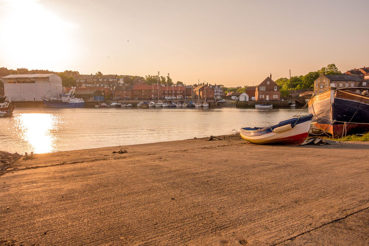 Whitby Whitby Harbour Whitby View Whitby North Yorkshire North Yorkshire Fishing Boat Harbour Harbour View Nautical Vessel River Esk Marina Sky Sunrise No People Harbor Passenger Craft Water Sea Slipway Moored Sunset Mode Of Transportation Travel Destinations