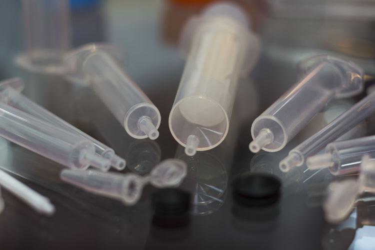 Doctor  Hospital Medicine Clean Close-up Hygene Indoors  Laboratory No People Phamaceutical Plastic Science Selective Focus Still Life Syringe Technology