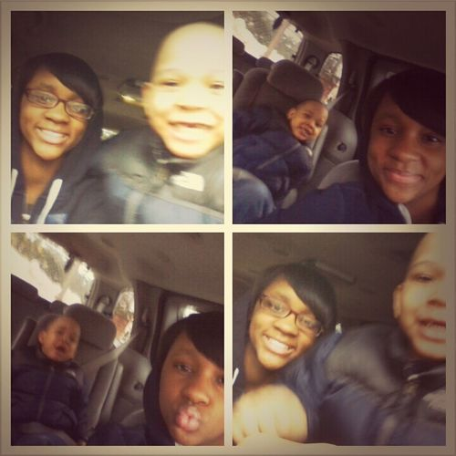 Me And Lil Bro Takin Pics In The Car<3