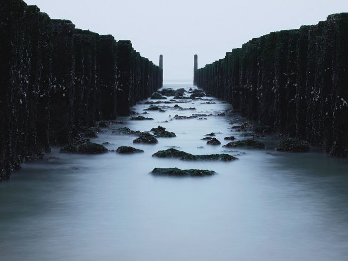 Railroad tracks in water