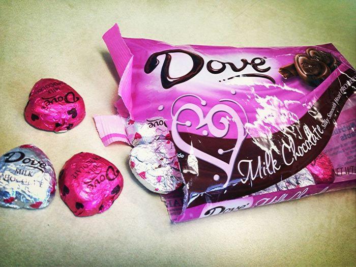Eatting Dove Chocolates