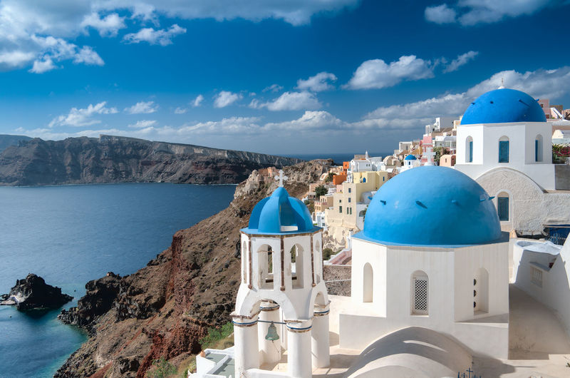 Architecture Beauty In Nature Blue Built Structure Cloud Cloud - Sky Day Greece GREECE ♥♥ Island Mountain Nature No People Oia Oia Santorini Outdoors Santorini Santorini Island Santorini, Greece Scenics Sky Town Tranquility Travel Water