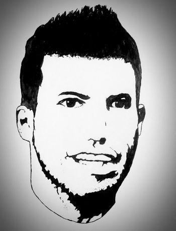 Kun Aguero Man City Citizens Argentina Football Artattack Need Followers  Art Chinese Ink Hard Work
