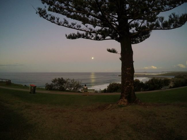 Moon Rise over the Ocean at D-bar with a Lonely Person Watching