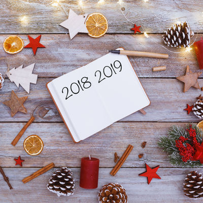2019 Greeting Happy New New Year Silvester Beginning Celebration Change Christmas High Angle View Holiday Indoors  Plans Start Still Life Table Text Wood - Material Year