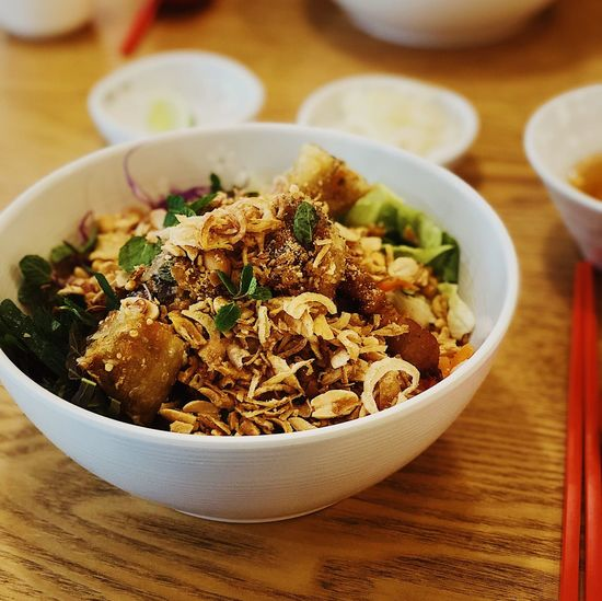 Bun Thit Nuong Salad Noodles Bun Thit Nuong Vietnamese Food Bowl Table Food And Drink Indoors  Ready-to-eat Food Serving Size Freshness Healthy Eating Close-up