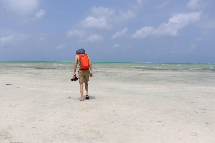 Full Length Rear View Of Man Walking At Beach Against Sky