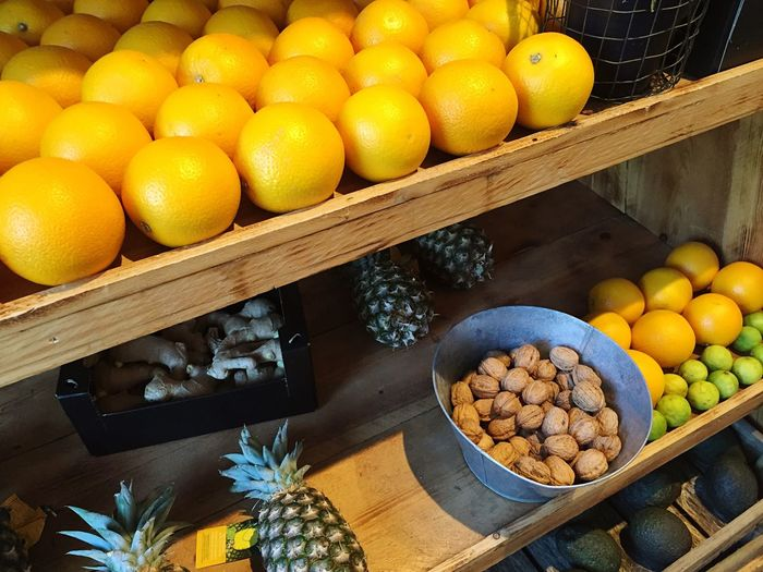 Full frame of fruits for sale in market