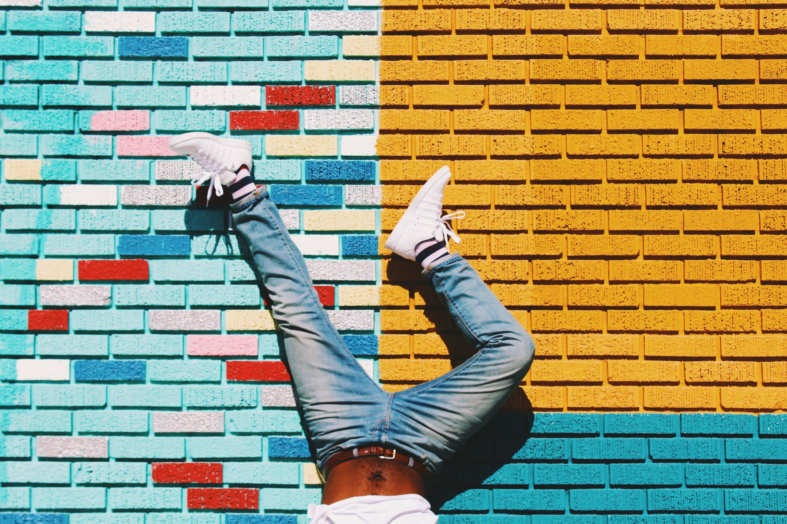 wall - building feature, architecture, yellow, built structure, building exterior, brick wall, pattern, wall, blue, orange color, day, multi colored, tile, part of, lifestyles, low section, window