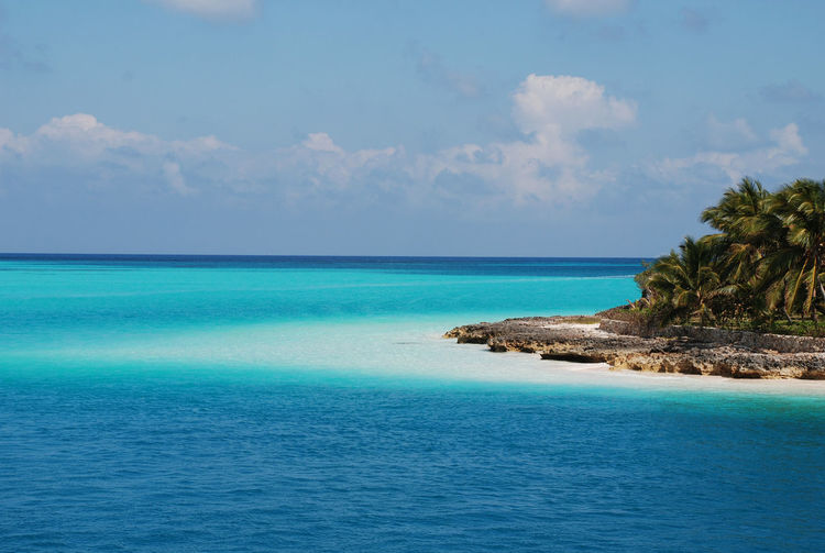 Bahamas Beach Beauty In Nature Blue Cloud - Sky Day Horizon Horizon Over Water Idyllic Land Littleisland Nature No People Outdoors Scenics - Nature Sea Sky Tranquil Scene Tranquility Tropical Climate Turquoise Colored Water Waterfront