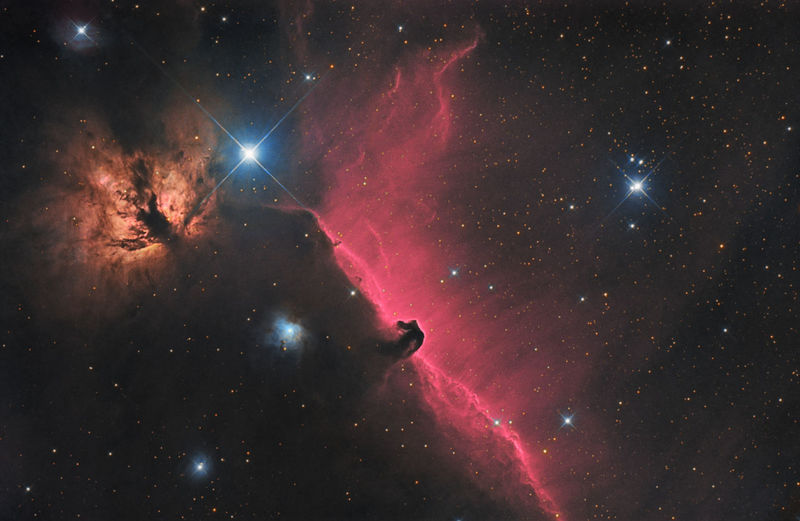 Horsehead and Flame nebula in constellation Orion Astrology Astronomy Astronomy Telescope Astrophotography Astrophotography Astronomy Cosmos Deep Space Deep Space In Eye Flame Nebula Horsehead Nebula IC 434 Milky Way Night Night Sky Orions Belt Red Space Space And Astronomy Space Exploration Stardust Starfield Starry Night Stars Universe