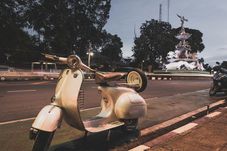 vespa in Trang Thailand 2018. Travel Andaman City Land Vehicle Motor Scooter Motor Vehicle Outdoors Road Scooter Sky Street Transportation Vintage Photo