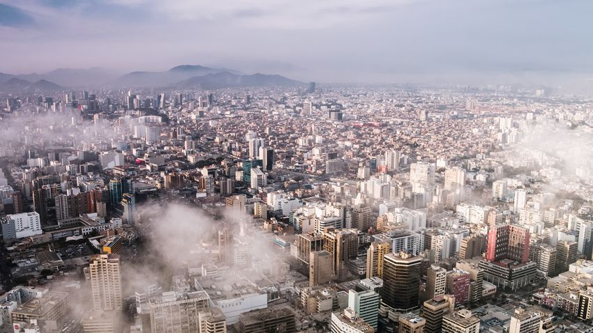 Mountain Mountain Range Aerial South America Urban Lima Peru Streets Cloud City Cityscape Urban Skyline Skyscraper Sunset Aerial View Sky Cloud - Sky Foggy Smog Air Pollution Fog Downtown District This Is Latin America