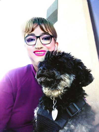 Out with my pooch! Sunny Summer Relaxing Dogs Of EyeEm Dog Harness Yorkiepoo EyeEm Selects Faceapp Self Portrait Male To Female Drag Outdoors Mature Adult Sitting Me And My Dog Pets Eyeglasses  Smiling Dog Women Happiness Portrait Luxury Cheerful Lap Dog Puppy Terrier Poodle Collar
