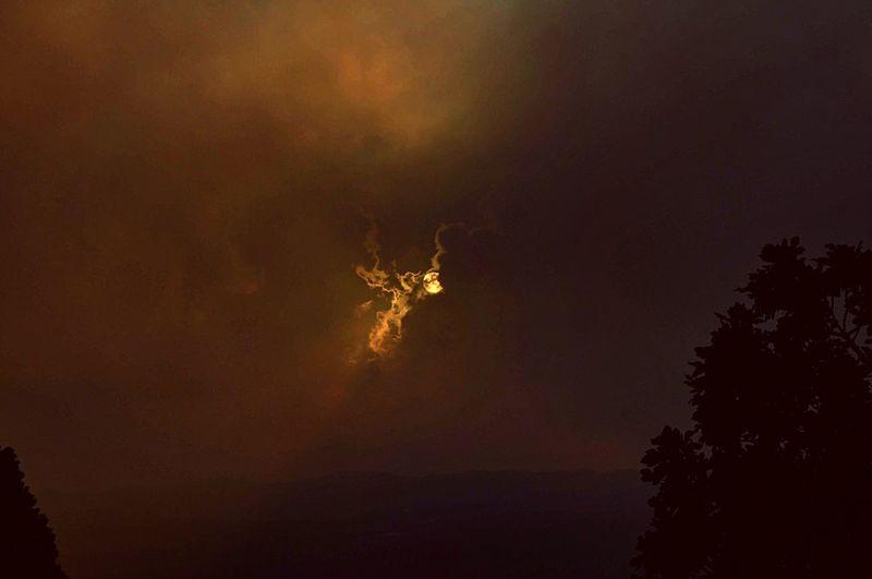 Apocalypse Sky Beauty In Nature Nature Night Tree Cloud - Sky Exploding Orange Color Sunset Environmental Issues Illuminated Lightning