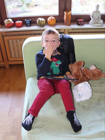 One Person Full Length Sitting Childhood Indoors  Lifestyles Front View