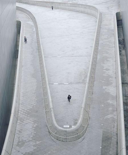 High angle view of tourists