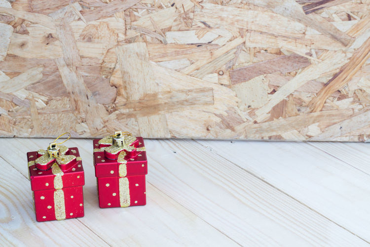 Box Christmas Copy Space Gift Happy Hard Wood Table Wooden