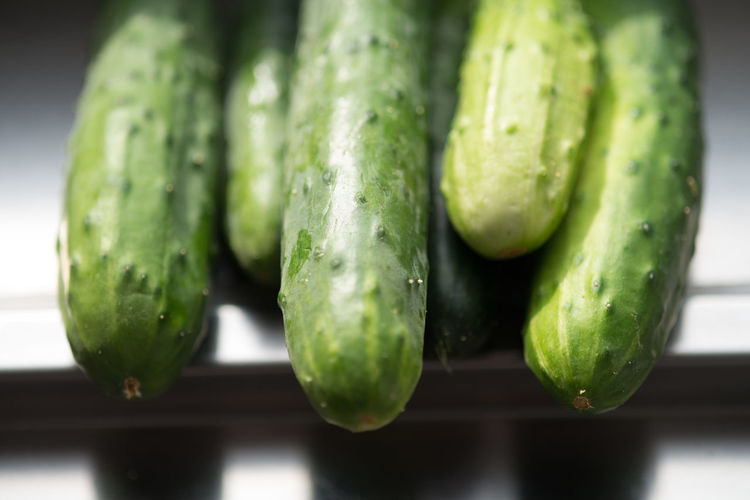 Close-up of cropped cucumbers