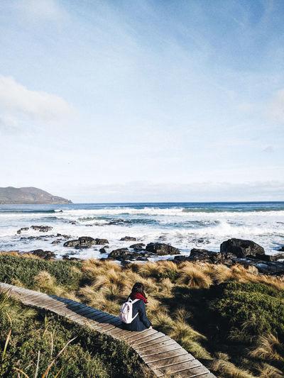 Isolation Tasmania Hike Boardwalk Water Sea Beach Women Sky Horizon Over Water Calm Hiker Ocean