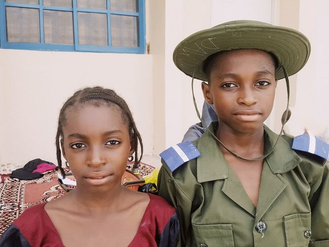 Visiting day at my son's school, Airforce Comprehensive School, Yola. His sister is on the left. This Is Family Portraitist- 2017 Awards Two People Child Boys Northern Nigeria Girls Portrait Childhood Togetherness Friendship Armed Forces School Uniform
