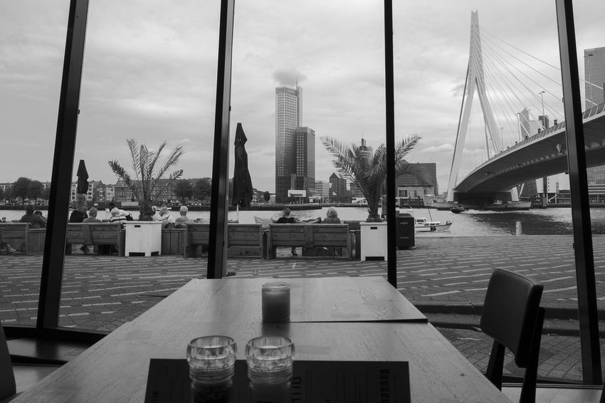 View of the Erasmusbrug from the Prachtig Bar-Restaurant Architecture Archineos Architecture B&n B&w Bianco E Nero Black And White Blanco Y Negro City Erasmusbrug Holland Indoor Photography Monochrome Olanda Prachtig Rotterdam Rotterdam Architecture Skyscraper Ugo Villani Urban Urban Landscape Willemsplein
