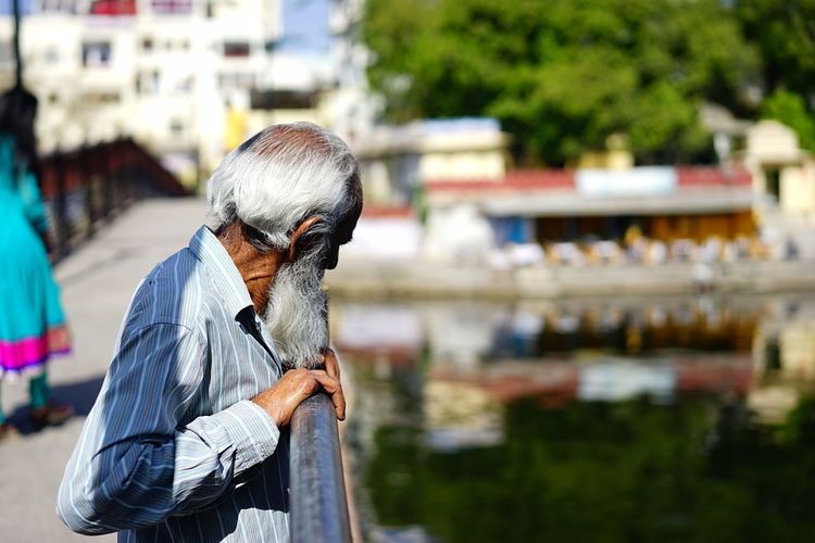 City India Reflection The Man And The Sea... Bridge Day Daylight Older Man Outdoors Udaipur