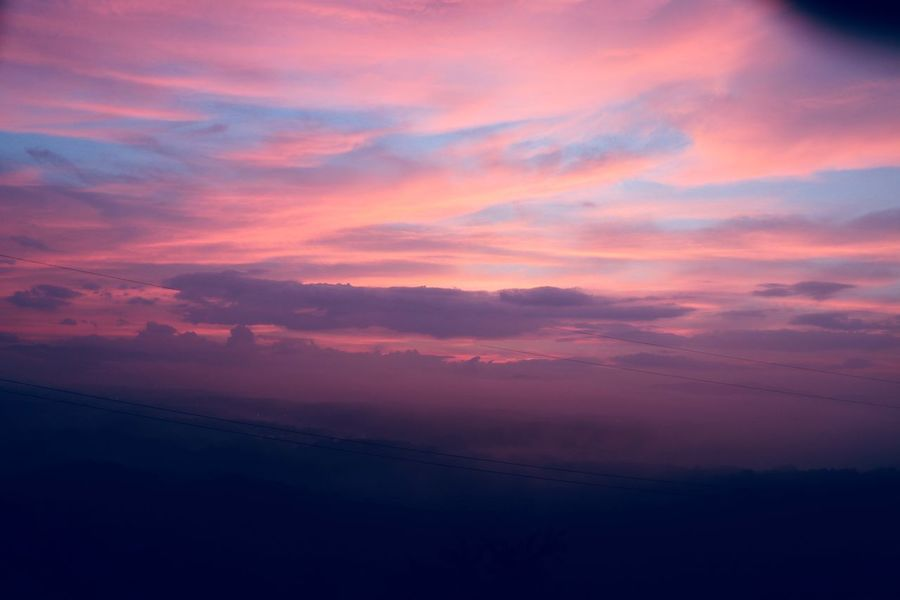 Sunrise sky over the Smokey Mountains Sunrise Sky Cloud - Sky Beauty In Nature Scenics - Nature Tranquility Pink Color Tranquil Scene Idyllic Nature Orange Color Dramatic Sky No People Atmospheric Mood Environment Outdoors Purple Romantic Sky Magenta Cloudscape