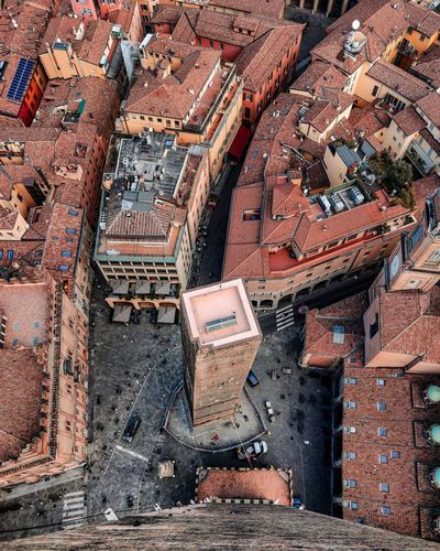 High angle view of old building in city