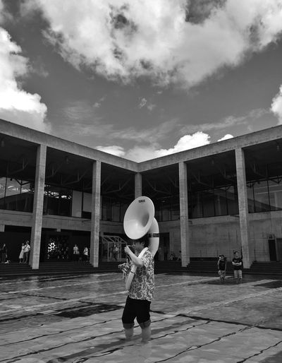 Concert in the pool Black And White Column Modern Art Modern Architecture Museum Architecture Event Instrument Tuba Band Pool One Person Cloud - Sky Real People Sky Day Outdoors Column Modern Art Modern Architecture Museum Architecture Event Instrument Tuba Band Pool One Person Cloud - Sky Real People Sky Day Outdoors