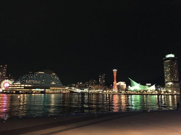 夜景 神戸港 Night View Sea Side Red Tower Hyogo,japan Port Ferris Wheel Port Tower Kobe Water Illuminated Architecture Night Built Structure Building Exterior City No People Reflection