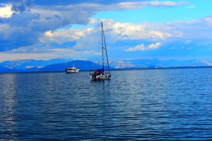 Nautical Vessel Water Outdoors Sea Sky Day Mountain Nature No People Sea Side Docks Docked Boats Dockside View Water Surface Boats And Water Boats And Sea Boats Boats On Water Sea And Sky Sea Life Seascape Photography Greece Photos CORFU ISLAND Corfu,Greece🇬🇷 Corfu, Greece
