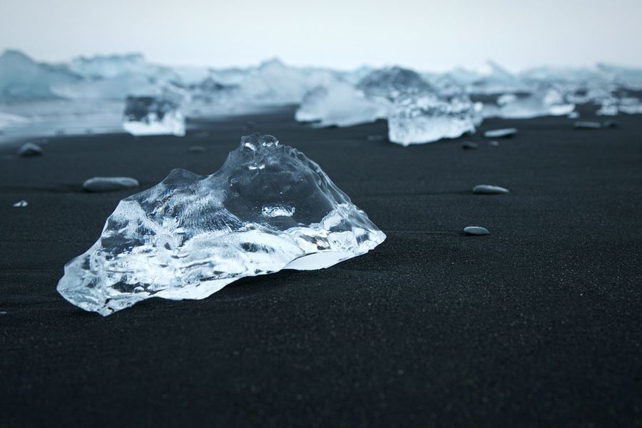 Iceland Ice Iceland Ice Black Sand Beach Black And White Transparency Sand Vik Ice Age