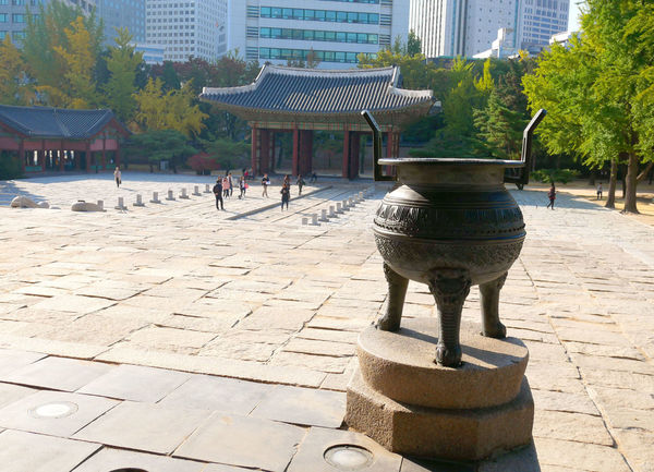 Junghwajeon, the main throne hall at Deoksugung Palace. ASIA Deoksugung Palace Junghwajeon Seoul, Korea Architecture Building Exterior Hall Historic Landmark Outdoors Paving Stone Religion Throne Travel Destinations
