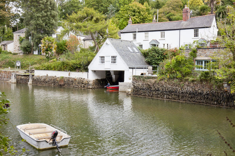 Calm Helford River Quiet Riverside Tranquil Trees Boat Boat House Boathouse Building Exterior Day Helford Homes House River Tree Water White