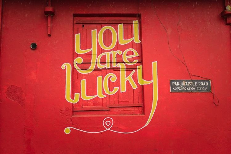 Fort Kochi Text Communication Red Sign Western Script No People Close-up Wall - Building Feature Script Architecture