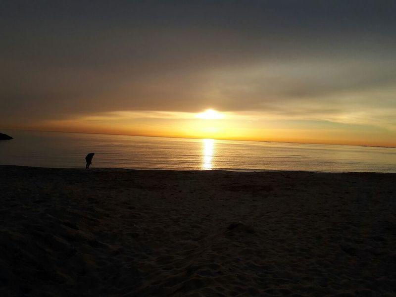 sunset in Lebanon💙 Sunset Beach Sea Sand Silhouette Sun Horizon Over Water