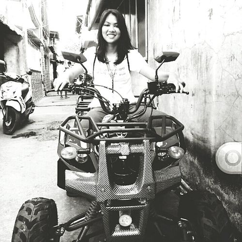 Quadricycle on the street! 😎😍 EyeEmNewHere Eyeem Philippines EyeEm Best Shots - Black + White Young Women Portrait Women Females Motorcycle Happiness Looking At Camera Youth Culture Beautiful People Smiling