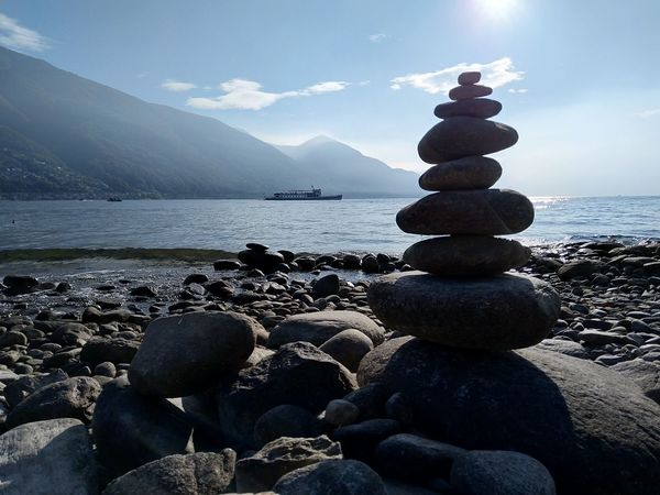 Water Rock Solid Sky Stack Stone - Object Scenics - Nature Rock - Object Beauty In Nature Balance Beach Nature Tranquility Pebble Stone Tranquil Scene Zen-like Land No People Landscape Lake Ferry Autumn Light