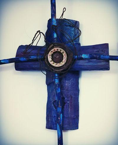 Cross Blue Handmade New Mexican Art Worship Wall Hanging Woodwork