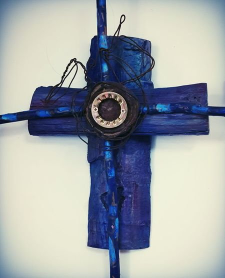 Cross Blue Handmade New Mexican Art Worship Wall Hanging Woodwork