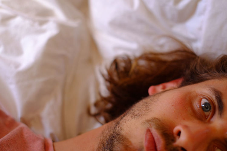 Bed California Close-up Day Friendship Headshot Human Body Part Human Eye Human Hand Indoors  Long Hair Men One Person People Portrait Real People USA Young Adult