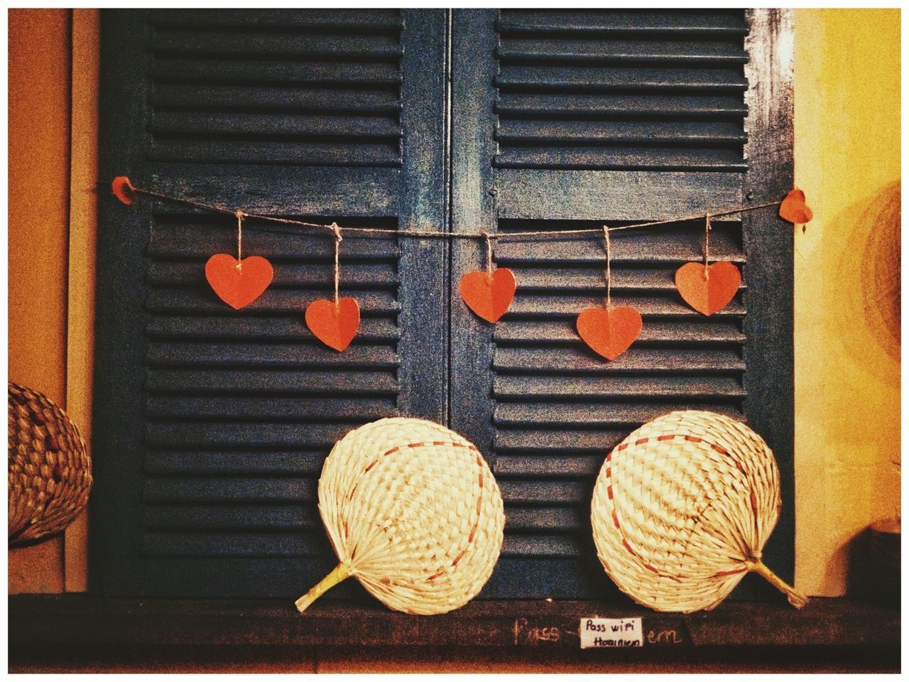 transfer print, auto post production filter, no people, close-up, hat, hanging, art and craft, day, pattern, creativity, outdoors, food, architecture, food and drink, wicker, decoration, wall, built structure, wood - material, window